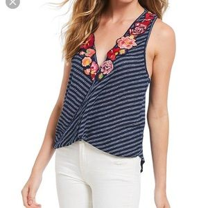 Free People Frida knit tank top floral shirt new